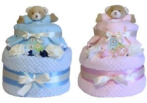 Deluxe-Two-Tier-Baby-Nappy-Cake-Girl-Boy-Bear-Design-Present-Maternity-Gift