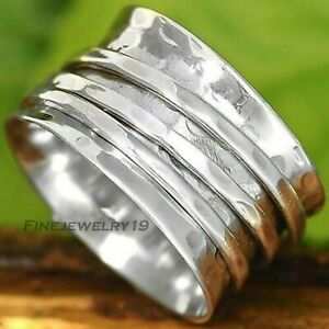 Solid-925-Sterling-Silver-Wide-Band-Spinner-Ring-Meditation-Statement-Ring-GN25