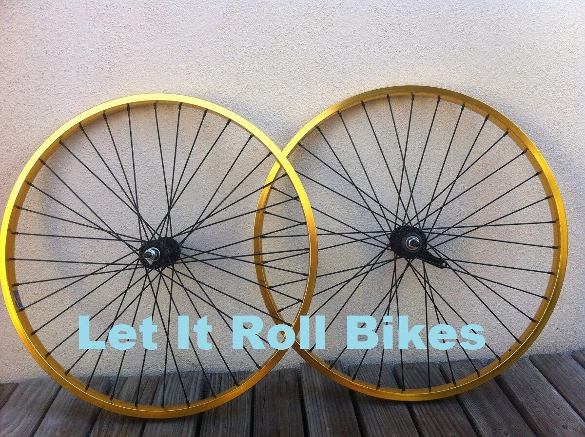 BICYCLE gold 26  x 2.125 HEAVY DUTY WHEELSET ALLOY CRUISER LOWRIDER  CYCLING