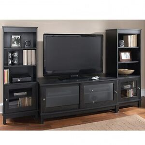 Details About Home Entertainment Center Tv Stand Shelves Wood Media Console 2 Side Pier Towers