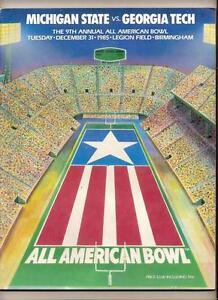 1985 All American Bowl Game Program Michigan State Georgia Tech