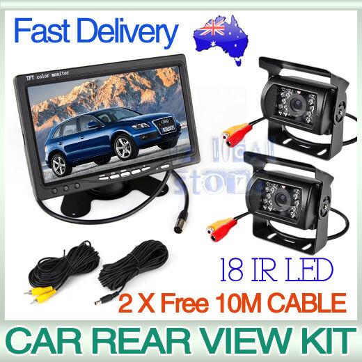 "Car Rear View Kit 2X 18 IR LED CCD Reversing Camera+7"" LCD Monitor+2X 10M Cable"
