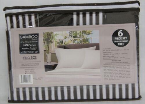 Bamboo Egyptian Comfort Series 6 Piece Sheet Set KING Size Brown /& White