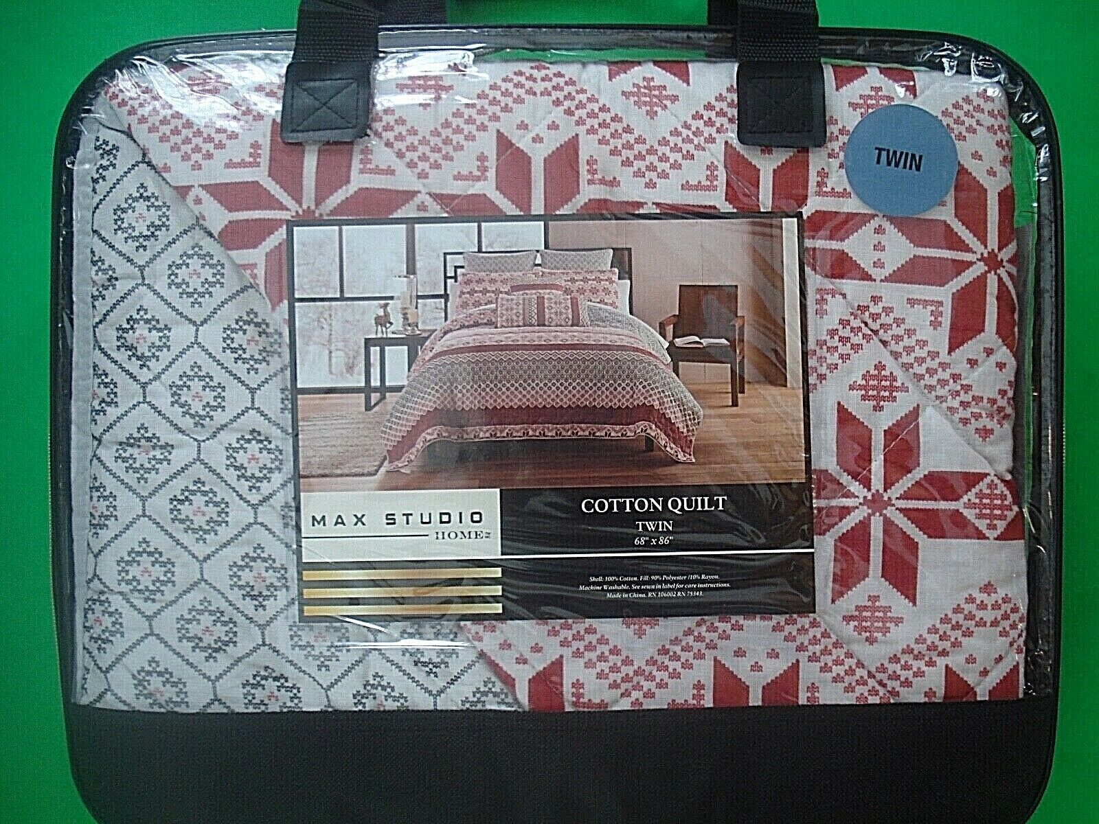 MAX STUDIO TWIN QUILT WINTER NORDIC FAIR ISLE SNOWFLAKE REVERSIBLE NEW