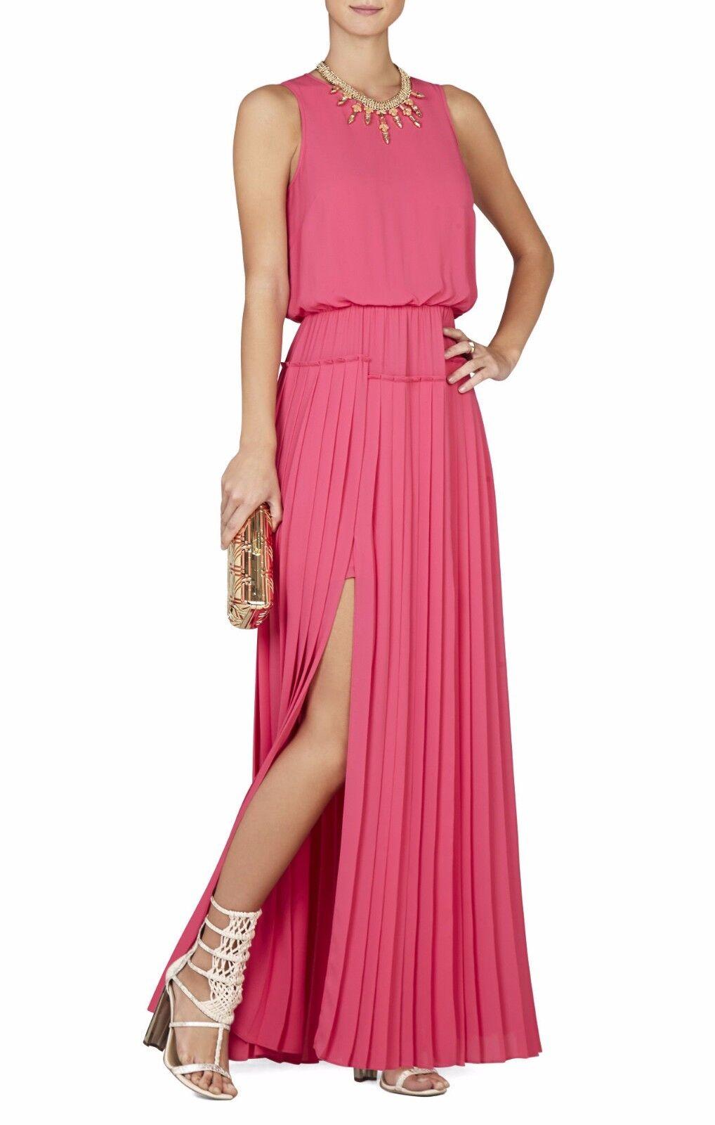 NWT BCBG JENINE HIGH-SLIT PLEATED SKIRT MAXI DRESS,Size XS