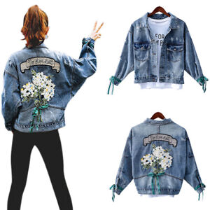 Women-Floral-Denim-Jeans-Ladies-Tops-Casual-Jacket-Long-Sleeve-Coat-Outwear