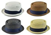 Mens Summer Pork Pie Hat Round Top Fedora Navy Band S/m(58cm) L/xl(60cm) 4colors