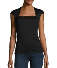 Lafayette 148 New York Giada Swiss Cotton Black Cap Sleeve Top Medium