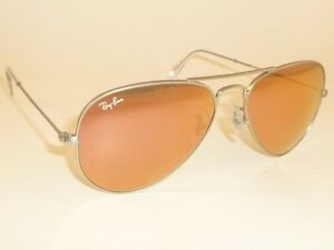 New RAY BAN Aviator Sunglasses Matte Silver RB 3025 019 Z2 Pink ... 9fd5ab540f26