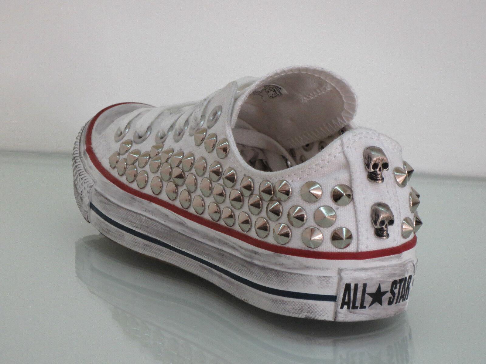 Converse all star OX  borchie bianco teschi  scarpe  bianco borchie optical white artigianali 22e638