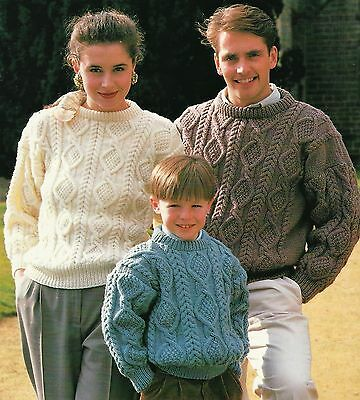 200 Knitting Pattern Lady/'s Fab Aran Cable Sweater  80-110 cm
