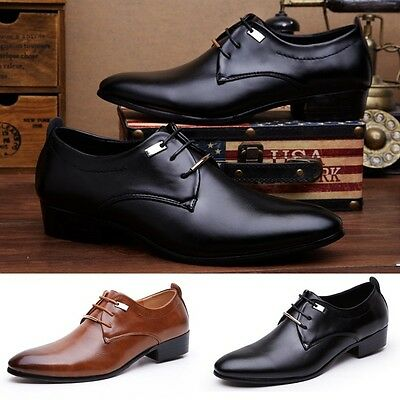 New Mens Breathable Casual Summer Faux Leather Formal Shoes Lace up Loafers Gift