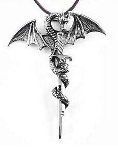 Collier-pendentif-dragon-entourant-une-epee-argente-acier-vintage-Denerys