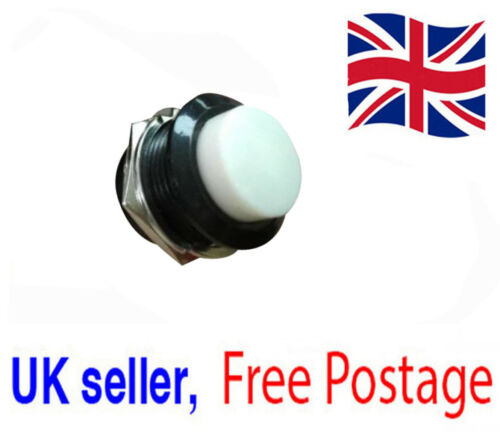 Momentary White push button switch OFF- ON 16mm UK Seller