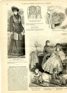 French MODE ILLUSTREE SEWING PATTERN December 6,1891