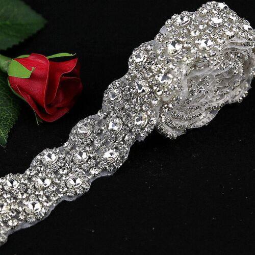 1 Yard Wedding bridal Rhinestone Applique Trim Crystal Sparkly Applique for Sash
