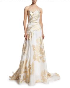 Nwt 5k Rubin Singer Strapless Chiffon White Gold Metallic Print Gown Size 14 Ebay