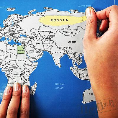 Подарок стиральная карта мира со стирающимся  скретч - слоем