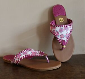8361aeefc2fe Simply Southern Sandals Flip Flops Thong Pink White Floral Size 7 ...