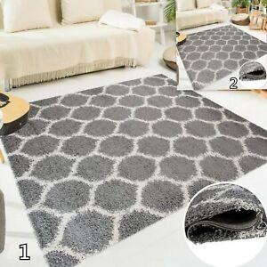 Modern-Grey-Shaggy-Super-Soft-Trellis-Rug-Plush-5cm-Pile-Height-Fluffy-Area-Rugs