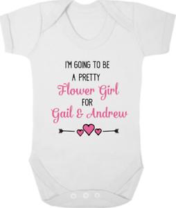 Keepsake WEDDING Gift PERSONALISED FLOWER GIRL New Bodysuit//Baby Grow//Vest