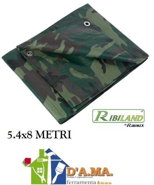 TELO TELONE MIMETICO CAMOUFLAGE IMPERMEABILE 5.4X8 M COPRITUTTO RIBIMEX
