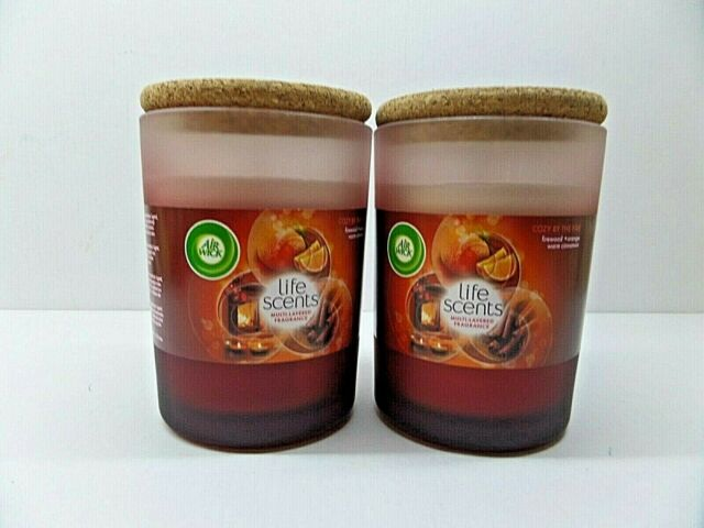 Air Wick Life Scents Cosy By The Fire scented wax candles 2x185g with coasters