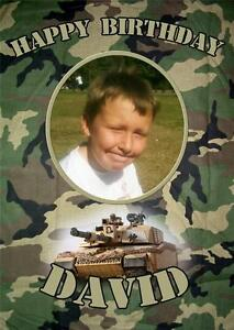 Personalised childrens army tank camouflage photo birthday card ebay image is loading personalised childrens army tank camouflage photo birthday card bookmarktalkfo Choice Image