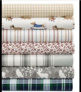 New Martha Stewart Houndstooth Stripe King Size Flannel Sheet Set Ebay