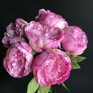 Image Is Loading Bunch Of 7 Pink Peonies Artificial Luxury Faux