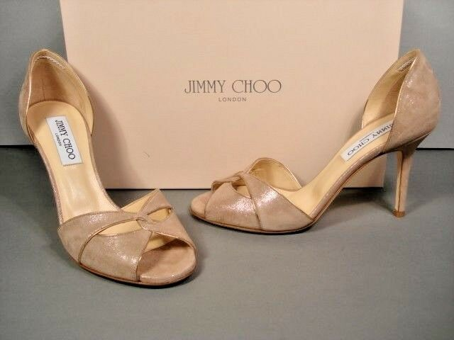 Jimmy Choo Lydia Light gold Sand Shimmer Suede Authentic D'Orsay Pumps New 37.5
