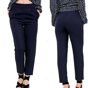 Womens Ladies Plain Navy Elasticated Waist Summer Formal Office Trouser Pant