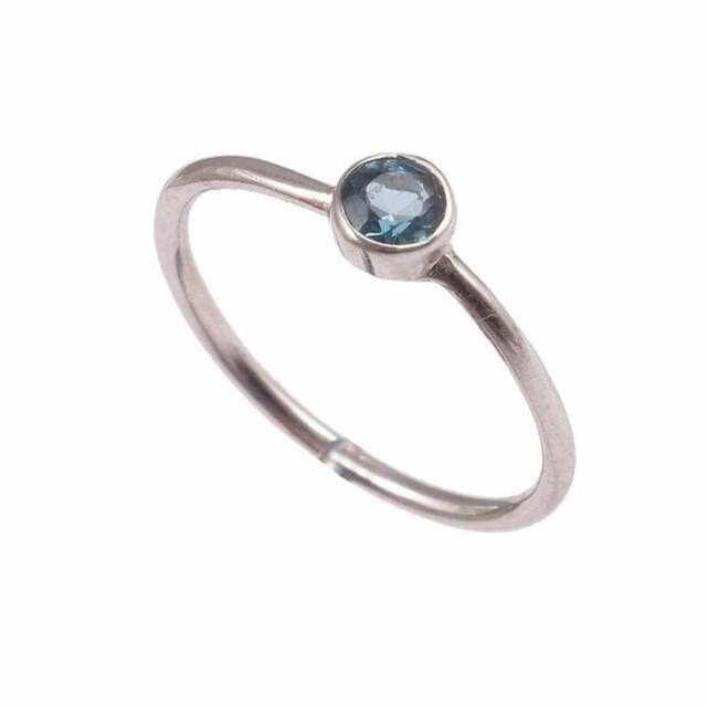 Engagement Wedding Ring 4.24 ct Genuine London Blue Topaz in 925 Sterling Silver