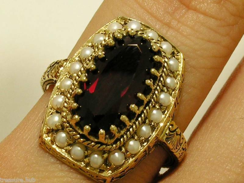 C828- SOLID 9ct gold NATURAL Large Garnet & Pearl Ring Cluster made in your size