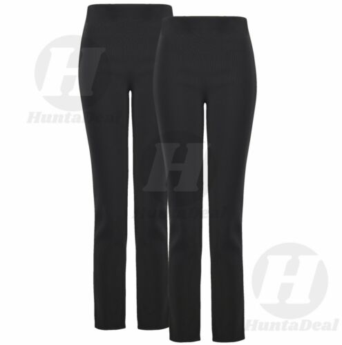 LADIES PACK OF 2 ELASTIC WAIST STRAIGHT LEG STRETCH RIBBED PULL ON TROUSERS PLUS