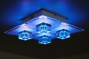 Plafoniere Led Soffitto : Plafoniera led rgb multicolore lampada soffitto design vetro