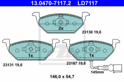 ATE Bremsscheiben Beläge Hinterachse HA 7HM, 7HN, 7HF, 7EF für VW MULTIVAN V