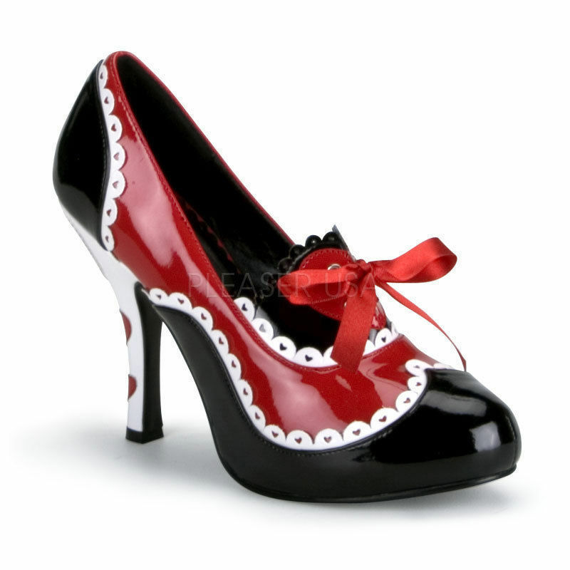 Queen-03 royale High Heels Pumps schwarz rot weiß mit Herzen Schleife Gr 36-43
