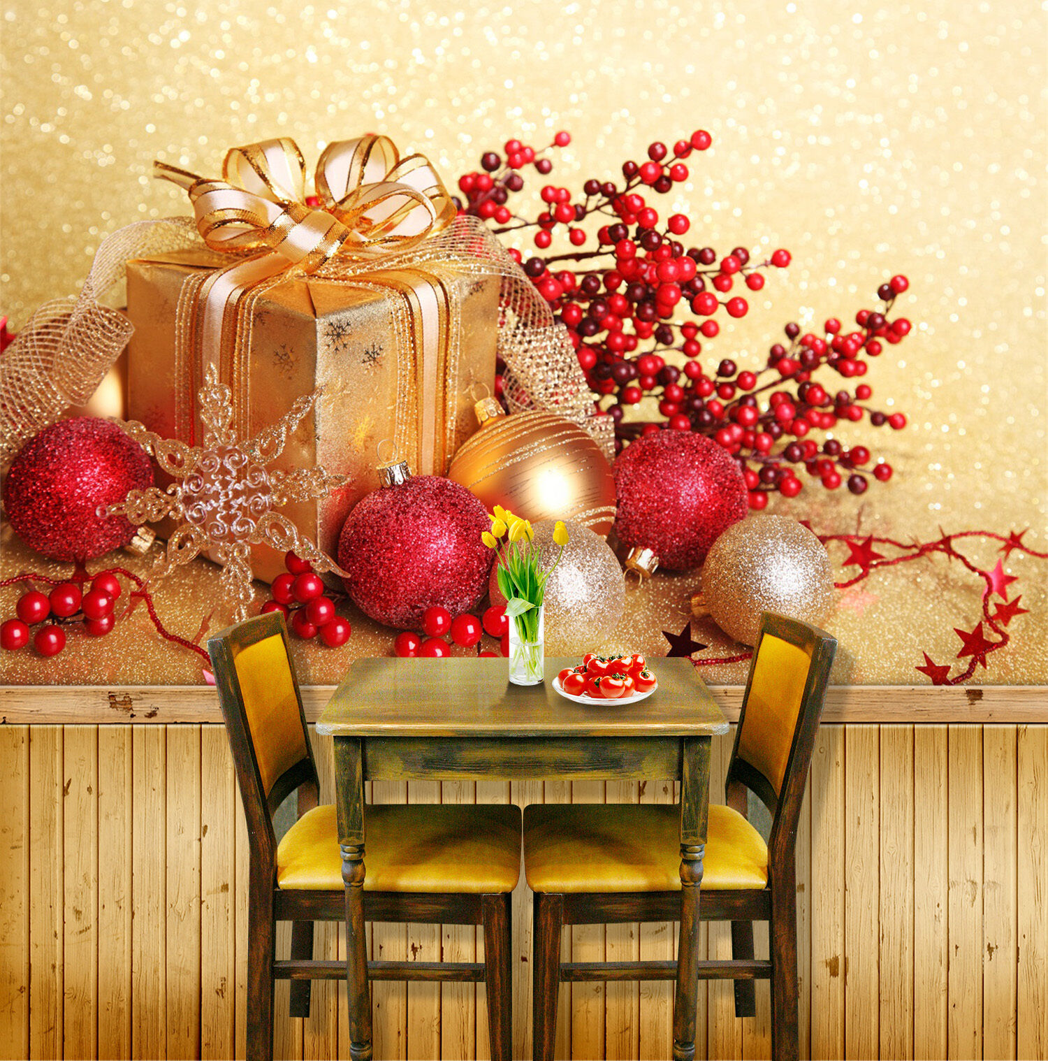 3D Receive Christmas Gifts 3 Wall Paper Wall Print Decal Wall Deco Indoor Wall