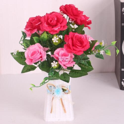 2x Bunch Künstliche Rose Blumen Bouquet Home Party Hotel Dekor 6 Wahl