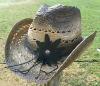 NEW Peter Grimm Hats MALLORIE Ladies Western Straw Beach Women's Cowboy Hat NWT