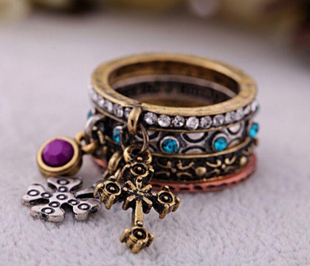 Size 7 Set of 4 Fashion Retro Cross Flower Crystal Women Ring Quality