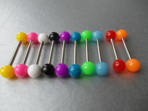 1 x Titanium lengua Bar eligió 12mm,14 mm,16 mm,19 mm eligió Col. colores audaces extremos