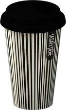 La Cafetiere BLACK STRIPE TRAVEL MUG - Ceramic ECO CUP & LID 250ml DOUBLE WALL