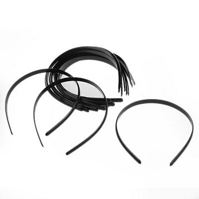 "12 Black Plain Women Plastic Headbands Hair Bands 0.39"" FASHION"