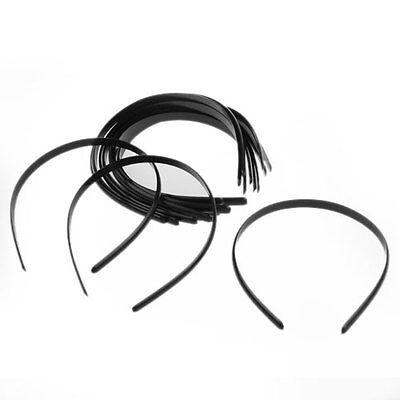 "12 Black Plain Women Plastic Headbands Hair Bands 0.39"" FASHION"