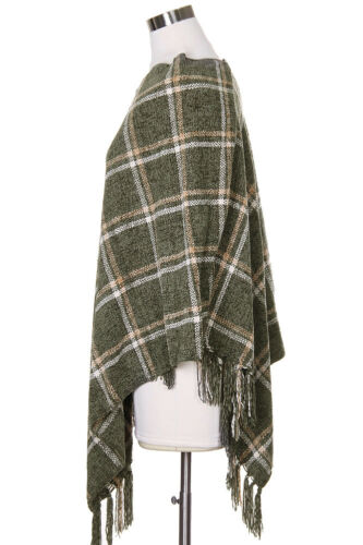 ScarvesMe Women/'s Soft Chenille Plaid Color Cape Shawl Poncho with Fringes