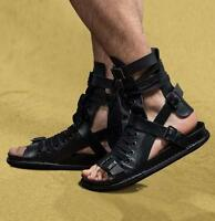 Mens Gothic Leather Lace Up Boots Buckle Knight Roman Gladiator Sandals Shoes
