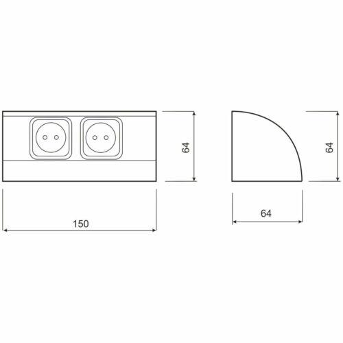 horizontal vertikal Aluminium Steckdosenleiste 2-fach Aufbau Steckdose Küche