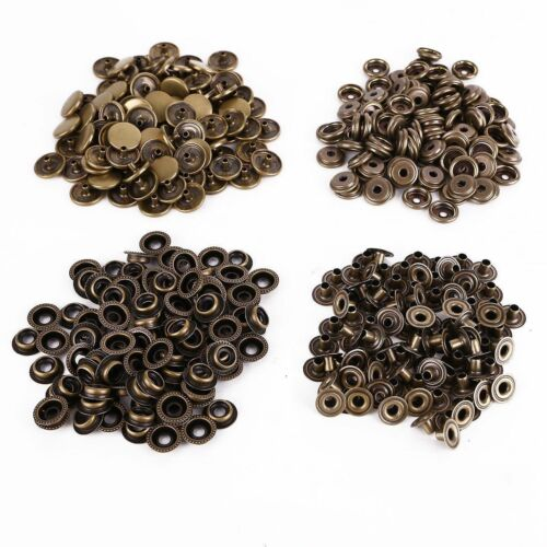 15mm 4-Part Press Studs Prongs Bronze Snap Fasteners for Leathercrafts Clothing